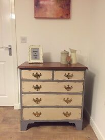 Elegant solid upcycled chest of drawers, slightly distressed