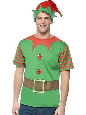 Mens ELF T-Shirt Costume Green Hat Shirt X-Mas Christmas Kit Medium Adult NEW](Mens Christmas Elf Costume)