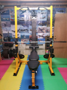 Powertec half rack with lat cable tower