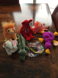 Beanie Babies - Bushy, Swampy, Patti, Wiggly, Osito and Slither