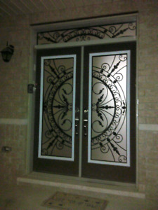 ASK FOR ESTIMATE WROUGHT IRON AND DECORATIVE DOOR GLASS INSERTS