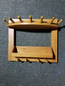Handcrafted, Wooden, Wall Mounted Coat Rack