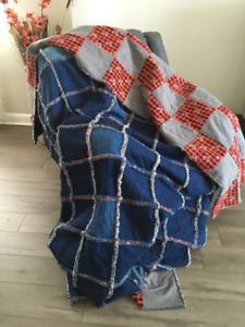 Patchwork Denim Rag Quilt - King Size, Quilted with Flannel back