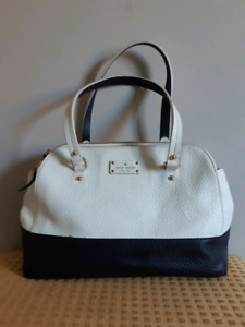 "Kate Spade Navy and White Leather ""Lainey"" Handbag/Purse"