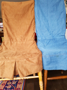 4 chair covers, 2 blue denim, 2 brown ultra suede