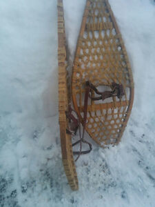 PAIR OF VINTAGE SNOW SHOES 14 X 42 RAW HID BINDING