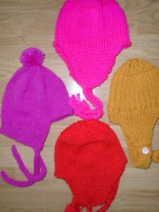 4 Hand knit Hats for sale