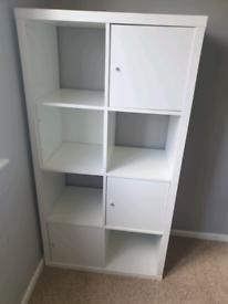 IKEA Kallax White Shelves with box door inserts