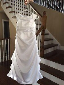 Size 8 girls white communion dress and tiara