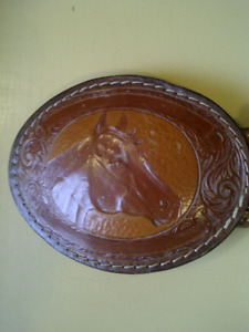 Leather Western Belt & Buckle