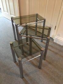 Retro chrome and glass nest of tables