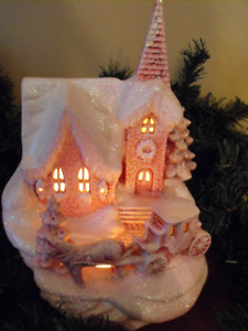 Ceramic Church Christmas village scene