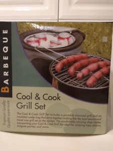 Brand new portable cool and cook grill set