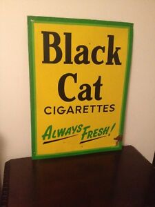 1956 BLACK CAT  TIN SIGN STAMPED & DATED (NEW PRICE $300 )