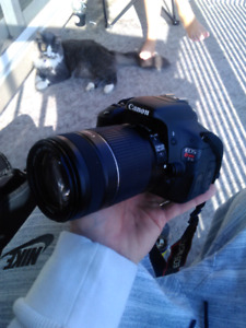 Canon eos rebel t3i with 18-55 and 55-250mm lenses