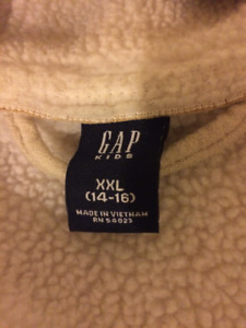 Gap Kids Fall Jacket Size 14/16 Cream Faux Suede and Fleece With
