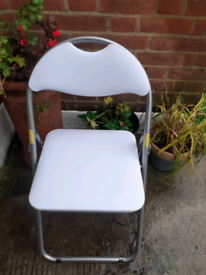 white folding padded chair £7.00 and other chairs