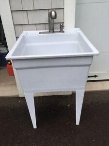 Laundry tub, Moen taps