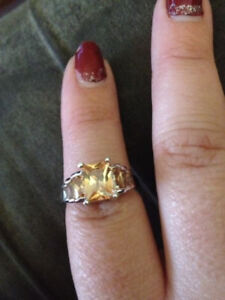 sterling silver champagne gemstone ring size 6.5