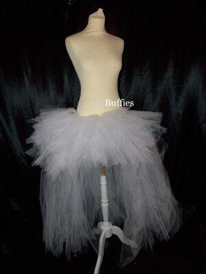 Ladies Long Tutu White Swan Gothic Steampunk Burlesque Bustle Witch 6-24