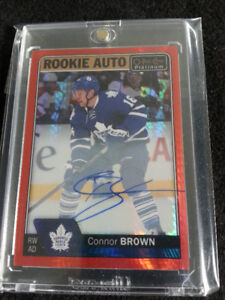 TORONTO MAPLE LEAFS CONNOR BROWN OPC RED PRISM AUTO 21/50 +BLUE