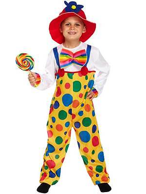Clown Kids Fancy Dress Up Circus Carnival Boys Girls Child Costume Outfit + Hat