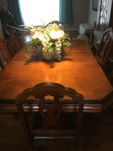 Antique Dining set with six chairs, china cabinet and buffet