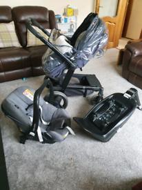 Mothercare genie pram and maxi-cosi pebble plus car seat bundle