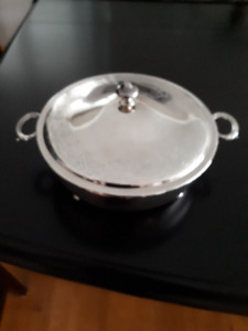 9 inch Silver Plated Serving Dish with Lid