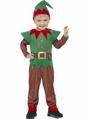 Childrens Elf Santas Little Helper Costume Kids Christmas Fancy Dress Outfit