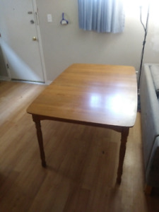 Mid century modern solid oak table, hutch and chairs