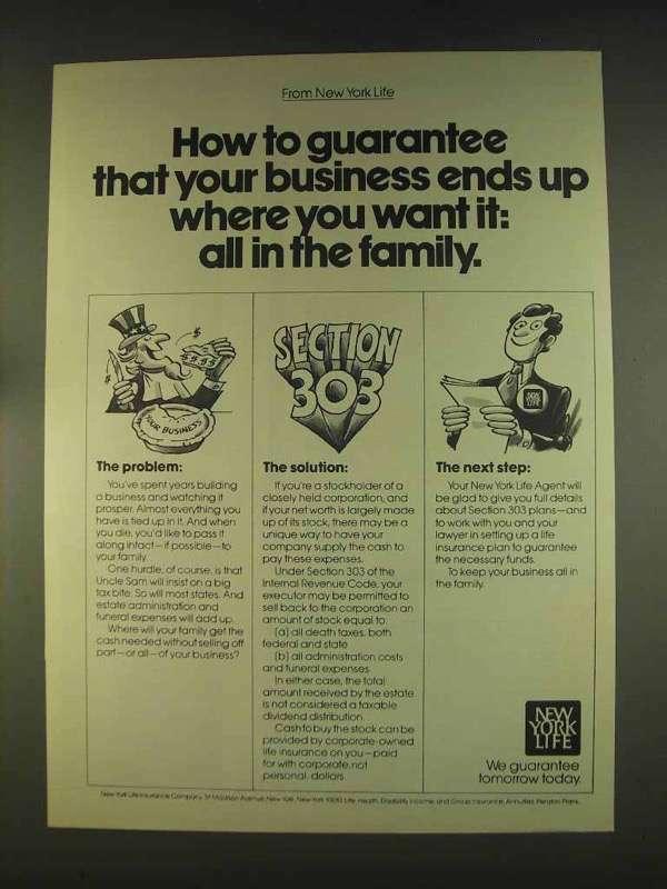1976 New York Life Insurance Ad - How to Guarantee