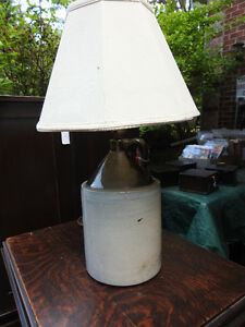 antique 1 quart crown jug converted to working lamp