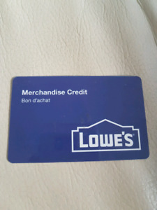 Lowe's store credit $134.91