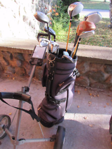 Golf set with a bag and trolley