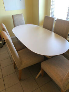 IKEA Slahult table with six custom made dining chairs!