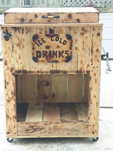 Wooden Cooler on wheels