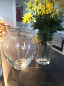 4 vase vitre verre décoratif ikéa pot clear flower jaune vert