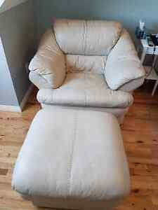 Ivory Leather Arm chair & matching ottoman