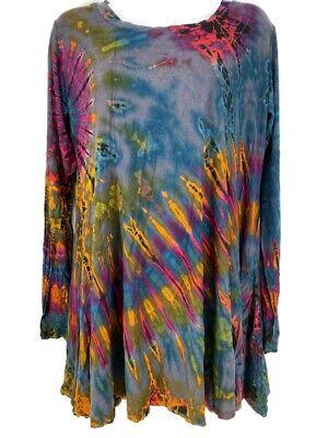 Tie Dye Top XL Long Sleeve TunIc Spandex Rayon Boho Gray Kathmandu Imports New
