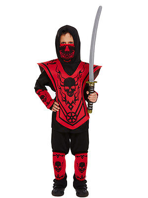 Samurai Kids Kostüme (Boys Kids Childs Ninja Assassin Japanese Samurai Warrior New Fancy Dress Costume)