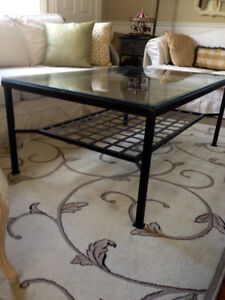 """Large Coffee Table. Iron and Glass, great heavy condition,31"""" x"""