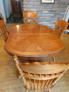 Dining table set , 6 chairs, 2 extensions, wood table