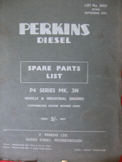 SELECTION OF PERKINS SPARE PARTS CATALOGS /  MANUALS Dianella Stirling Area Preview