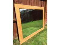 Large pine framed mirror