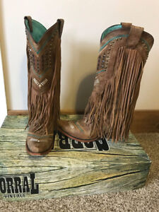 Size 8 Tall Honey Fringe Corral Boots