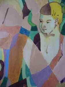 "Modern Abstract Figures, Listed Artist Joyce Kellock ""Six Girls"" Stratford Kitchener Area image 6"