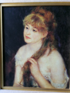 """Toile Reproduction Auguste Renoir """"Young woman brading her hair"""""""