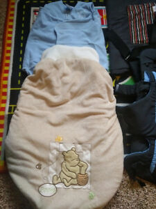 For Sale: 2 carriers, car seat blanket, and Halo sleepsack