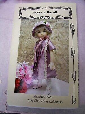 "13"" Effner Little Darling PATTERN  Front Close Dress and Bonnet ""Mondays Child"""